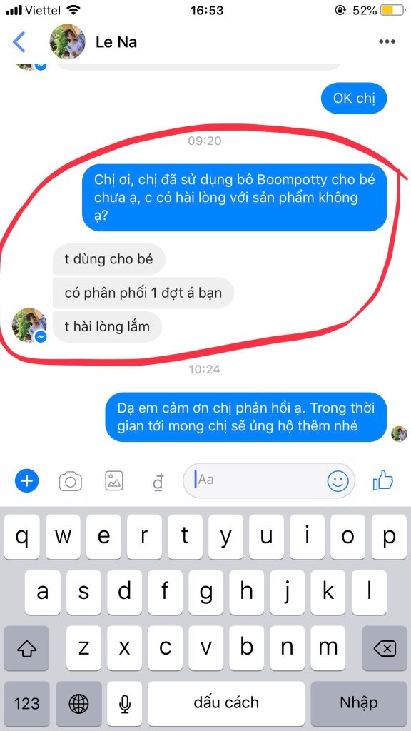 Review đánh giá bô vệ sinh Boom Potty của chị Lê Na