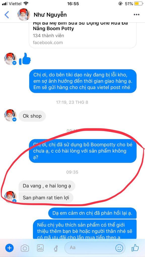 Review đánh giá bô vệ sinh Boom Potty của chị Như Nguyễn