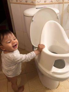 Review đánh giá bô vệ sinh trẻ em Boom Potty của mẹ Cao Thư